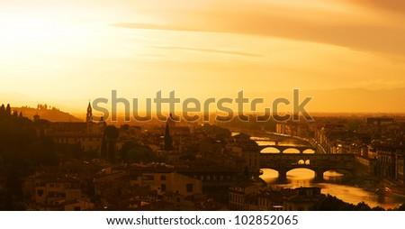 Florence at sunset - stock photo