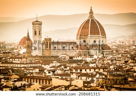 Florence at sunset, vintage tones, Cathedral and cityscape - stock photo