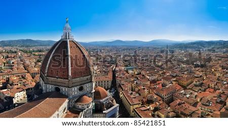 Florence bird's view panorama - stock photo