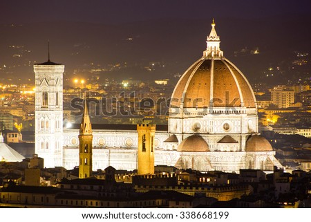 Florence Cathedral as seen from the yard of san Miniato al Monte