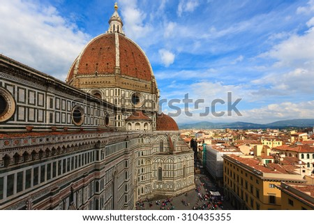 Florence Cathedral from Giotto's bell tower, Italian panorama. - stock photo