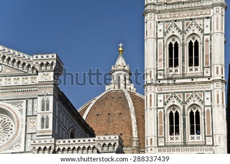 Florence, Cathedral of Santa Maria del Fiore and Dzhetto's belltower. Fragment.  Brick octagonal dome is the largest in the world.