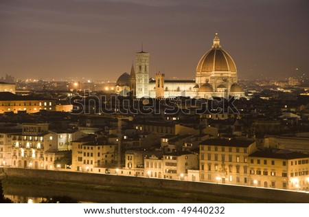 Florence - cathedral of Santa Maria del Fiore in the night - look from Piazza Michelangelo