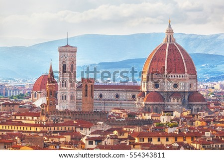 Florence, Cathedral of Santa Maria del Fiore on a sunset, Italy