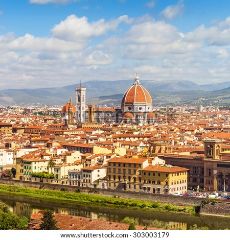 Florence, Cathedral Santa Maria Del Fiore from Piazzale Michelangelo (Tuscany, Italy) - stock photo