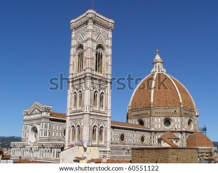"""Florence cathedral """"Santa Maria del Fiore"""" (with Giotto's belfry tower and Filippo Brunelleschi's dome) - stock photo"""