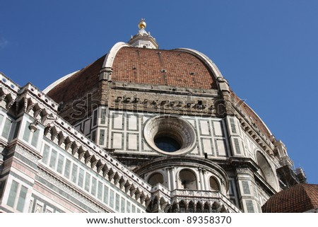 Florence cathedral view. Architecture in Italy. UNESCO World Heritage Site.