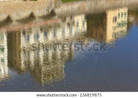 florence city Renaissance Old Town along arno Italy - stock photo