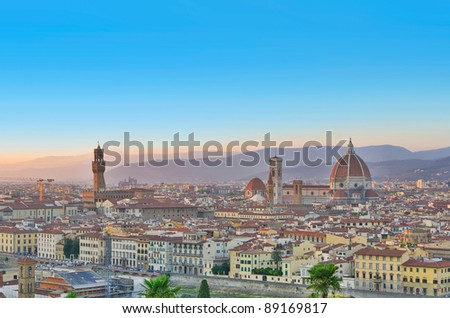 Florence city view at sunset, Italy