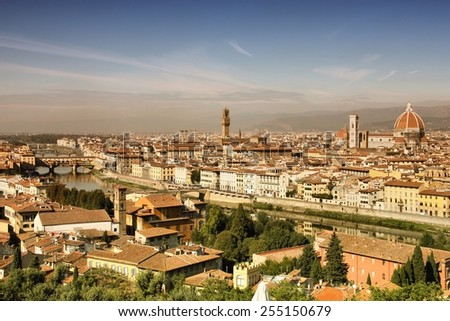 Florence cityscape, Italy. Aerial view with famous cathedral and river Arno. Filtered style colors. - stock photo