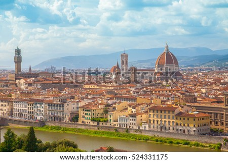 Florence cityscape with Duomo Santa Maria Del Fiore from Piazzale Michelangelo, Italy