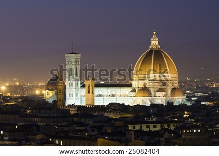 Florence Dome at dusk - stock photo