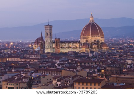 Florence Duomo at twilight - stock photo