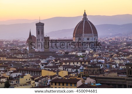 Florence duomo view from viewpoint at sunset