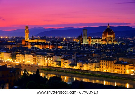 Florence evening - stock photo