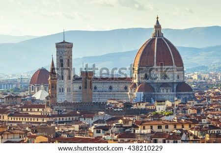 Florence evening old town view to santa maria del fiore cathedral tuscany region italy - stock photo