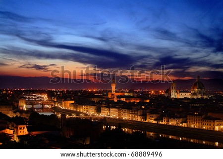 Florence (Firenze) after sunset - stock photo