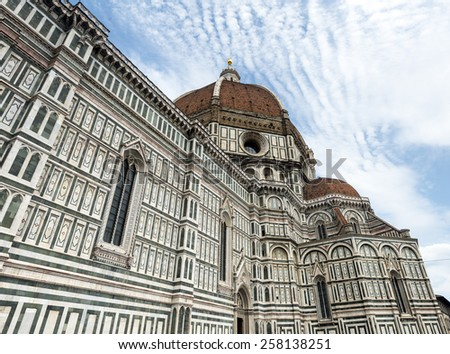 Florence (Firenze, Tuscany, Italy): the cathedral, dome by Brunelleschi - stock photo