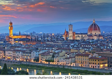 Florence. Image of Florence, Italy during beautiful sunset. - stock photo