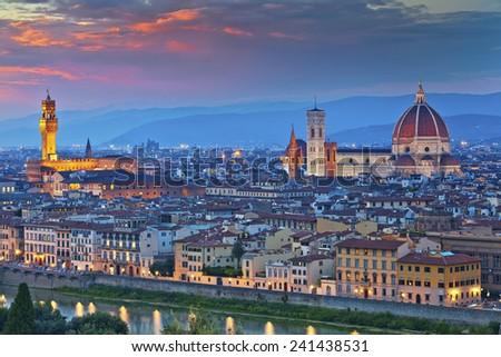 Florence. Image of Florence, Italy during beautiful sunset. - stock photo