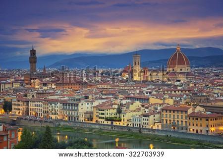 Florence. Image of Florence, Italy during dramatic twilight. - stock photo