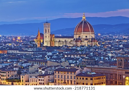 Florence. Image of Florence, Italy during twilight blue hour. - stock photo