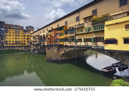 Florence. Image of Ponte Vecchio in Florence, Italy during spring day. - stock photo