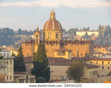 Florence, Italian medieval town Santa Maria del Carmine - stock photo