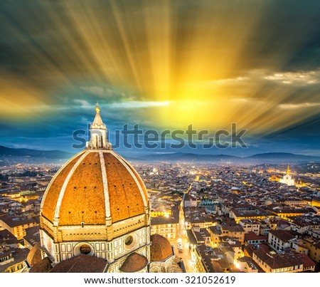 Florence (Italy) - Aerial bird eye view at sunset from Giotto Campanile (Giotto bell tower) - stock photo
