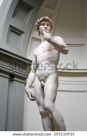 FLORENCE, ITALY - APRIL 21, 2015: David statue on April 21, 2015 in Florence. It's a sculpture masterpice done by Michelangelo in period of Renaissance, situated in Gallery of the Academy of Florence. - stock photo