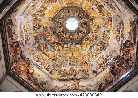 FLORENCE, ITALY - APRIL 30, 2015: Interior view of Cathedral dome painting in Florence, Italy. The Brunelleschi's dome was painted by Giorgio Vasari and Federico Zuccari. - stock photo