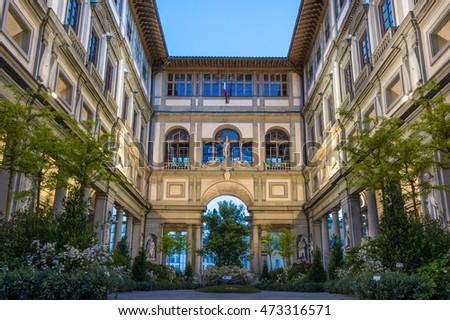 Florence, Italy - April 25, 2016. Uffizi gallery in Florence, Italy. It is one of the oldest and most famous art museums of Europe.