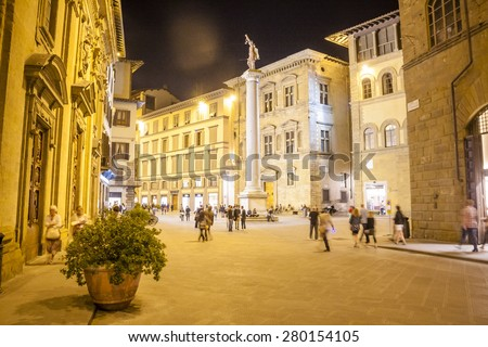 Florence, Italy at night - stock photo