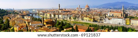 Florence Italy at sunny day cityscape aerial panorama - stock photo