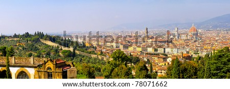 Florence Italy at sunny day cityscape panorama - stock photo