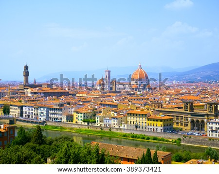 FLORENCE, ITALY - CIRCA JULY, 2015: Aerial View of Florence Cathedral in the Florence, Italy. - stock photo