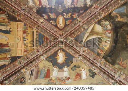 FLORENCE, ITALY - DECEMBER 6, 2014: ceiling of the Spanish Chapel, the old chapter house of the monastery situated at the north side of the green Cloister in Santa Maria Novella. - stock photo