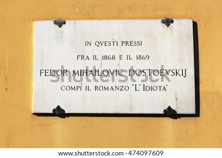"FLORENCE, ITALY - January 19, 2016: memorial plaque on the house where he lived Dostoevsky, here the writer completed his novel ""The Idiot"", Florence, Italy"