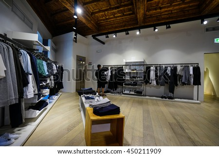 FLORENCE, ITALY - JUN 30, 2016:A COS store in FLORENCE. Launched in 2007, COS (Collection of Style) is the upscale brand of Swedish retailer H&M.