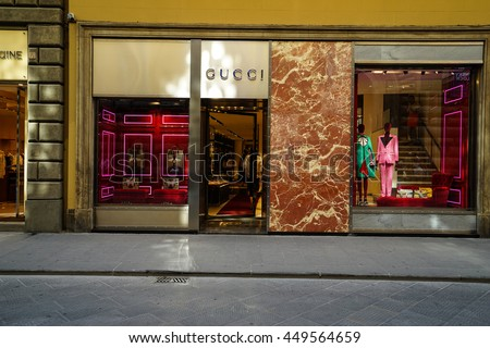 FLORENCE, ITALY - JUN 30, 2016:Gucci store in FLORENCE. Gucci is an Italian fashion and leather goods brand was founded by Guccio Gucci in Florence in 1921. Gucci has about 425 stores worldwide.