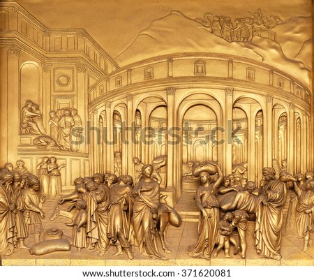 FLORENCE, ITALY - JUNE 05: Baptistry of Saint John, Gates of Paradise, The Story of Joseph, Florence, Italy on June 05, 2015 - stock photo