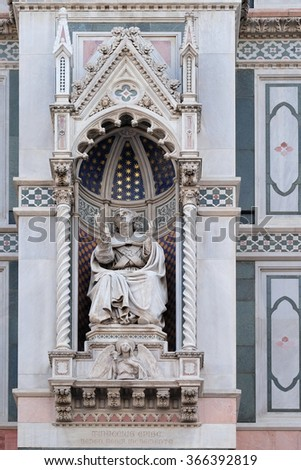 FLORENCE, ITALY - JUNE 05: Bishop Agostino Tinacci, Portal of Cattedrale di Santa Maria del Fiore (Cathedral of Saint Mary of the Flower), Florence, Italy on June 05, 2015