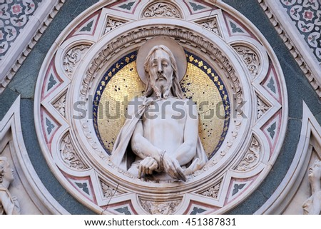 FLORENCE, ITALY - JUNE 05: Christ Bound, Portal of Cattedrale di Santa Maria del Fiore (Cathedral of Saint Mary of the Flower), Florence, Italy on June 05, 2015 - stock photo