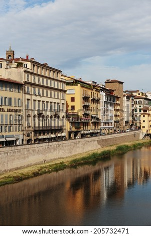 FLORENCE, ITALY - 23 JUNE, 2014: Embankment on the River Arno in Florence Italy