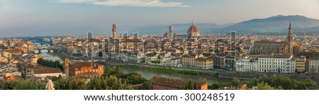 FLORENCE, ITALY - June 23, 2015: Florence during sunrise from Piazzale Michelangelo - stock photo