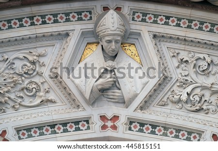 FLORENCE, ITALY - JUNE 05:  Florentine Saints, Portal of Cattedrale di Santa Maria del Fiore (Cathedral of Saint Mary of the Flower), Florence, Italy on June 05, 2015 - stock photo