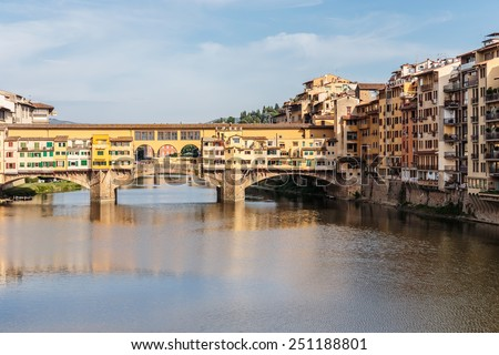 FLORENCE, ITALY - 23 JUNE, 2014: View of the bridge Ponte Vecchio