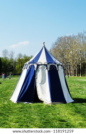 """FLORENCE, ITALY - MARCH 31 Medieval camp built during the """"Giochi di Carnasciale"""", an annual event that dates back to the ancient traditional Carnival in Florence on march 31, 2012 in Florence, Italy - stock photo"""