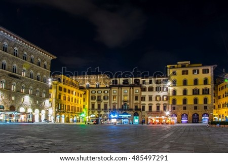 FLORENCE, ITALY, MARCH 15, 2016: night view of the Piazza della Signoria on Piazza della Signoria in Florence