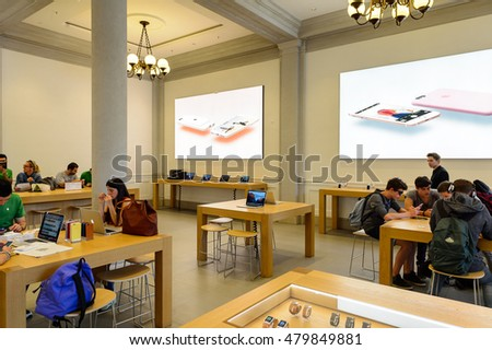 FLORENCE, ITALY - MAY 6, 2016: Apple store at the Piazza della Republica in Florence, Italy. Apple is the multinational technology company headquartered in Cupertino, California,